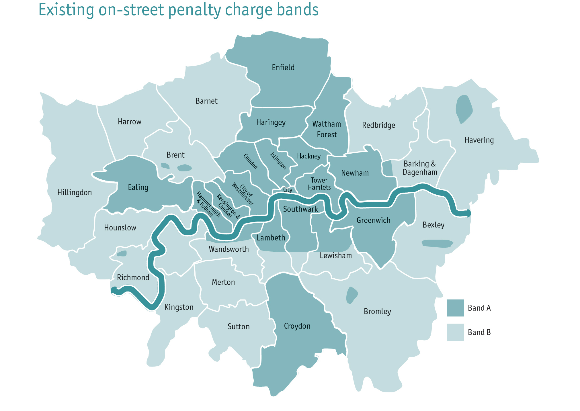 Exiting on-street penalty charge bands London map 2021