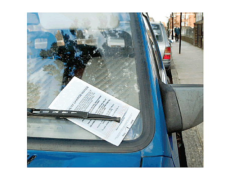 car with ticket on it
