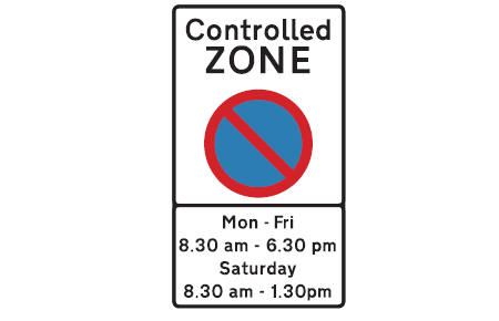 controlled zone sign