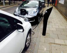 Electric vehicles being charged in London